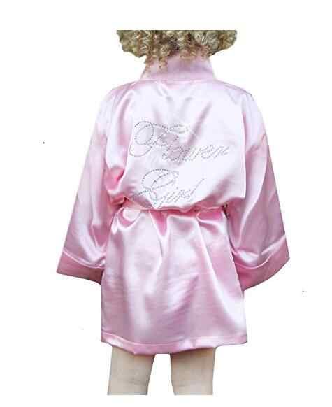 אופנה ילד ילדה פרח מסיבת חתונת מיני כלה כלה סאטן מוצק אמבטיה חלוק יאקאטה זהורית משי סקסי הלבשת ילדי Dressin