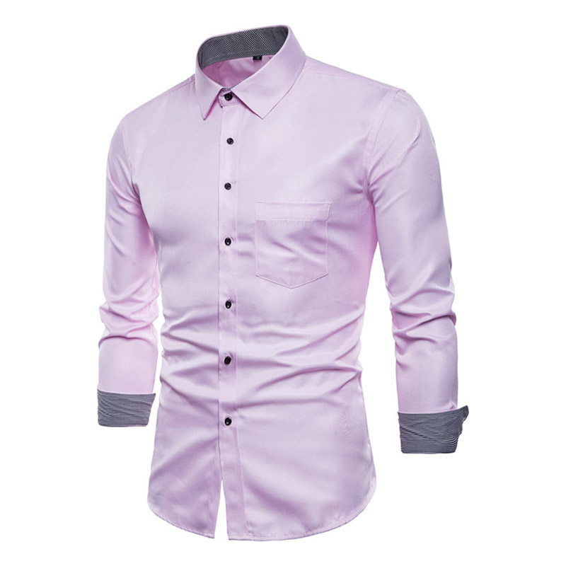 Men's Shirt Lapel Long Sleeve Slim Thin Front Button Casual For Business Meeting Party -MX8