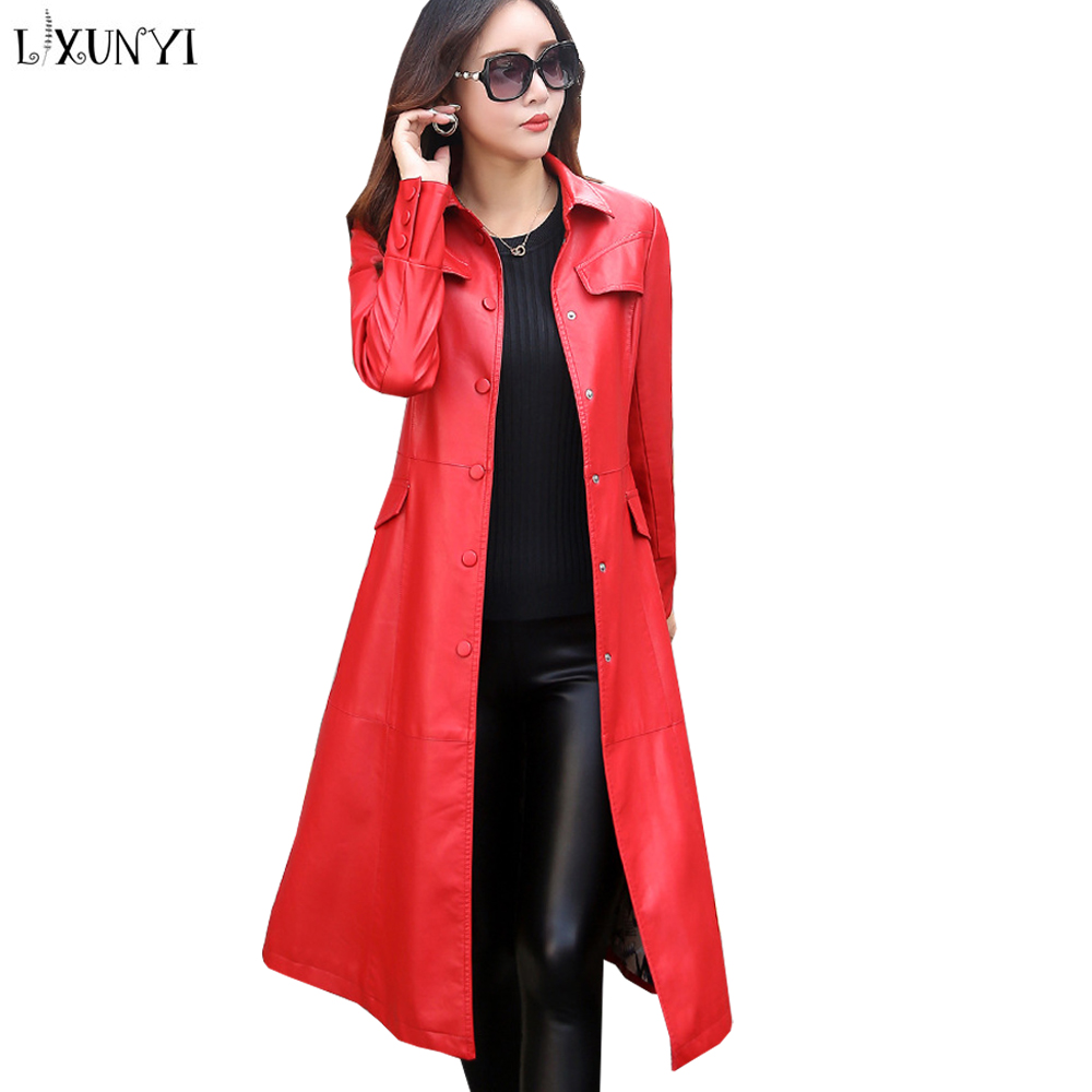 LXUNYI M-5XL Long   Leather   Trench Coat Women Plus Size Especially Female Jacket   Leather   Pu Coats Belt Office Wear Maxi Jackets