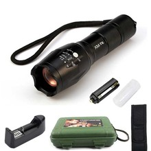1 Set LED Flashlight 6000lumen zoomable led torch aluminum linternas flashlights For Camping +Universal Charger + Box +Holster