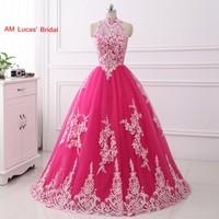 New Styles 2017 Quinceanera Dress Ball Gown High Collar Long Sweet 16 Years Party Gowns Vestido