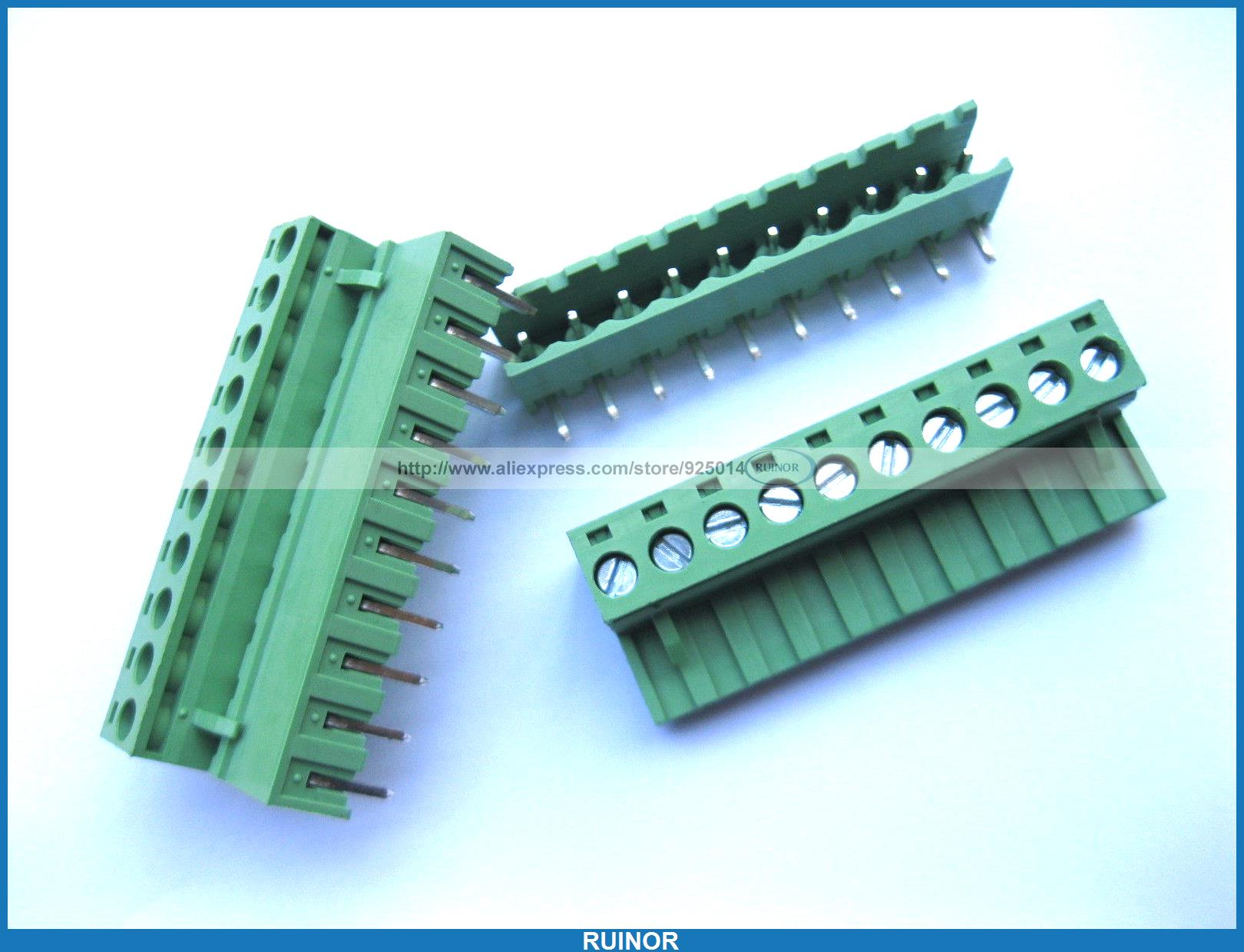 50 Pcs 5 08mm Angle 10 Pin Screw Terminal Block Connector Pluggable Type Green 5 pcs 400v 20a 7 position screw barrier terminal block bar connector replacement