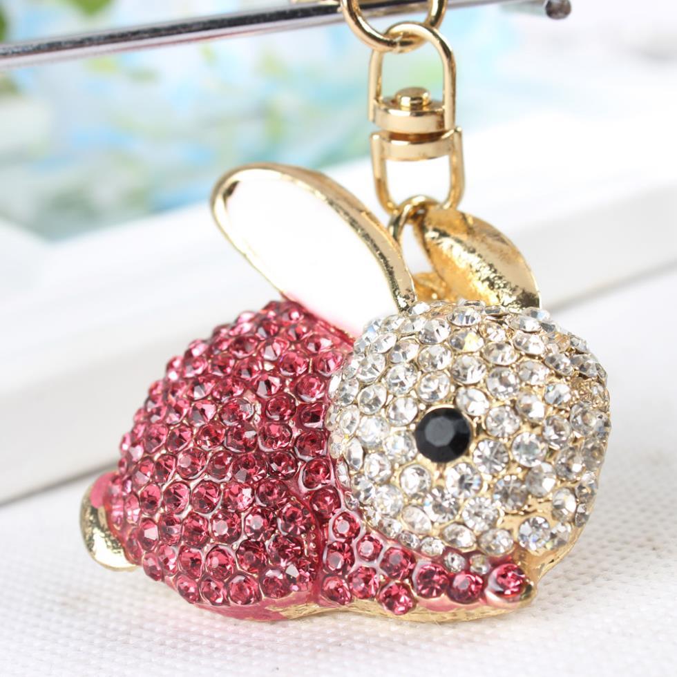 Rose Rabbit Keyring Lovely Pendant Charm Rhinestone Crystal Purse Bag Car Key  Chain New Fashion Design Gift 5f798c657718