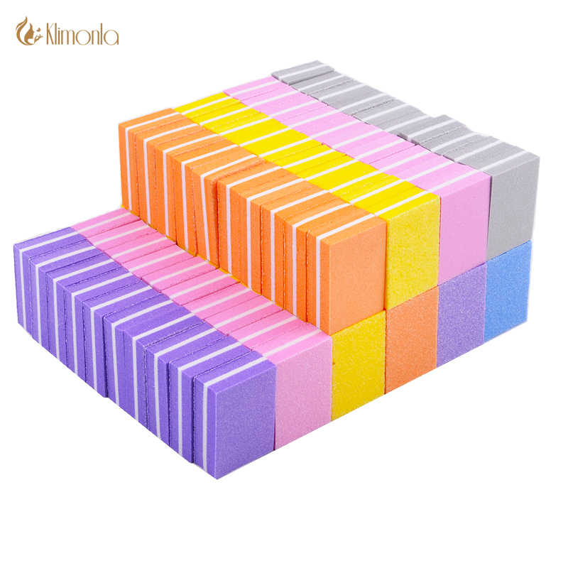 50pcs/lot Mini Sponge Nail File Candy Colors Sanding Buffer Polish Block Nail Files Double Side Manicure Makeup Tools