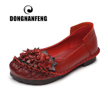 DONGNANFENG Women Old Female Mother Shoes Flats Flower Floral Slip On Loafers Cow Genuine Leather Pigskin Vintage 35-41 MLD-8306