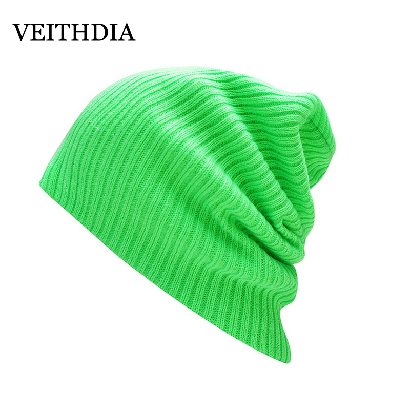 VEITHDIA New Winter Hats Solid Hat Female Unisex Plain Warm Soft Women's Skullies Beanies Knitted Touca Gorro Caps For Men Women 2017 unisex solid plain warm skullies beanies knitted touca gorro autumn winter caps hip hop slouch skullies for men women