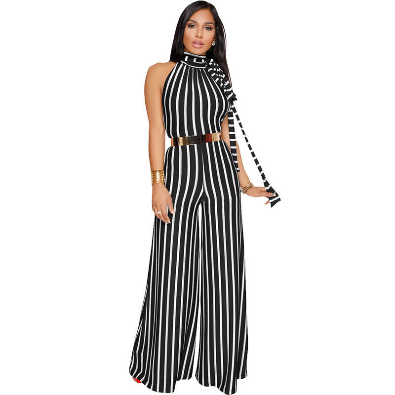 Women Fashion Striped Backless Jumpsuit Romper Office Lady Sleeveless Halter Elegant Wide Leg Jumpsuits Loose Casual Overalls