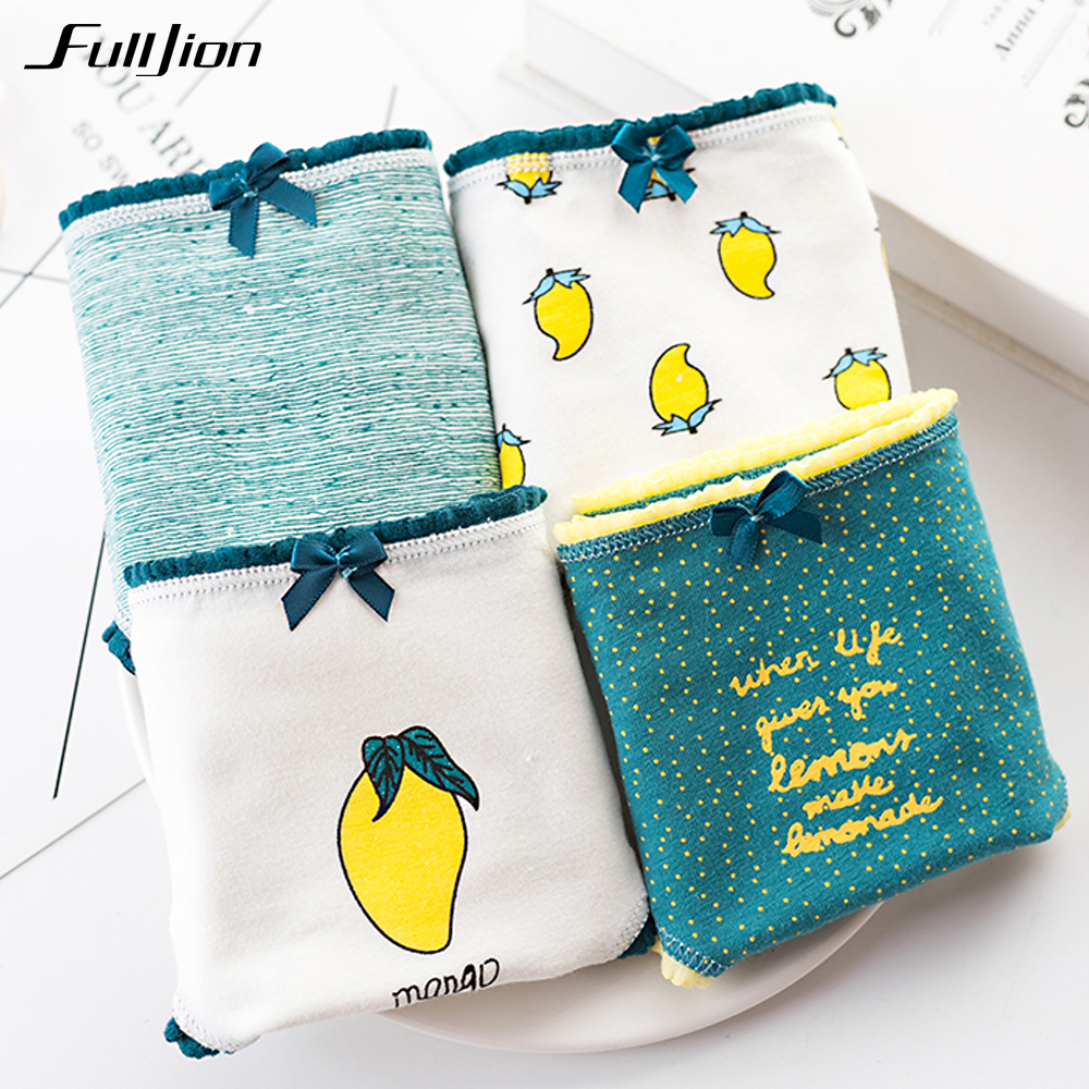 Buy Fulljion 4pcs/lot Women Panties Cotton Briefs Mango Watermelon Fruit Print Girls Underwear Ladies Panty Sexy Lingerie Underpants