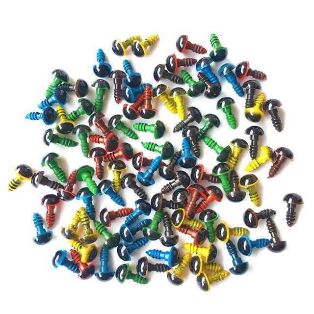 Neue 100Pcs 8mm Mix Farbe Kunststoff Sicherheit Augen DIY Für Teddybär Stofftier Snap Tier Puppe puppe handwerk Spielzeug Teil