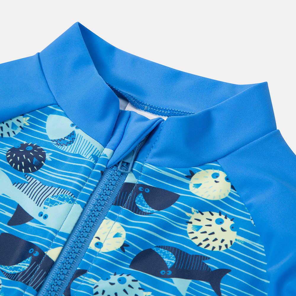 Charmo Satu Potong Bayi Anak Laki-laki Ritsleting Baju Renang Ikan Dicetak K Berlaku Baju Renang Anak Lengan Panjang Ruam Penjaga UPF 50 + Pantai