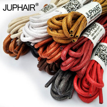 JUP1-12 Pair Red Brown High Quality Laces Unisex Sneakers Sports Rounds Wax Cotton Shoelaces Waxed  Shoes Popular Worldwide Sale