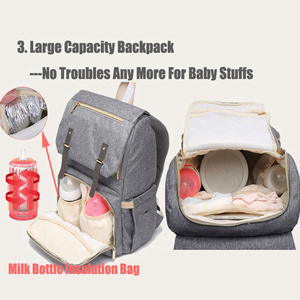 Image 2 - Diaper Bag USB Baby Nappy Bag Mummy Daddy Backpack Large Capacity Waterproof Casual Laptop Bag Rechargeable Holder for Bottle