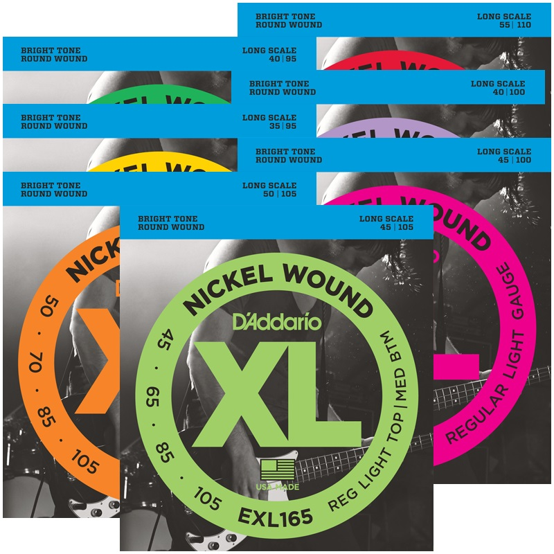 D'Addario Nickel Wound Bass Guitar Strings, Long Scale EXL160 EXL165 EXL170 EXL190 EXL220