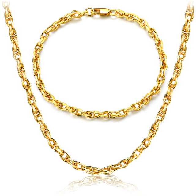 Chunky Chain Necklace Jewelry For Men Long Gold Colour Necklaces Bracelets African S256