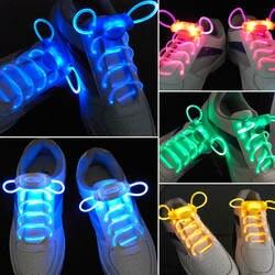 Светодио дный шнурки для спортивной обуви Flash яркая светящаяся палка ремень шнурки дисковечерние тека клуб 4 цвета 2018 Лидер продаж