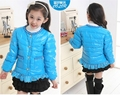 Girls Fashion Blue Winter Autumn Duck Down Jackets Coats Lace Decoration Outwear  4-10Years