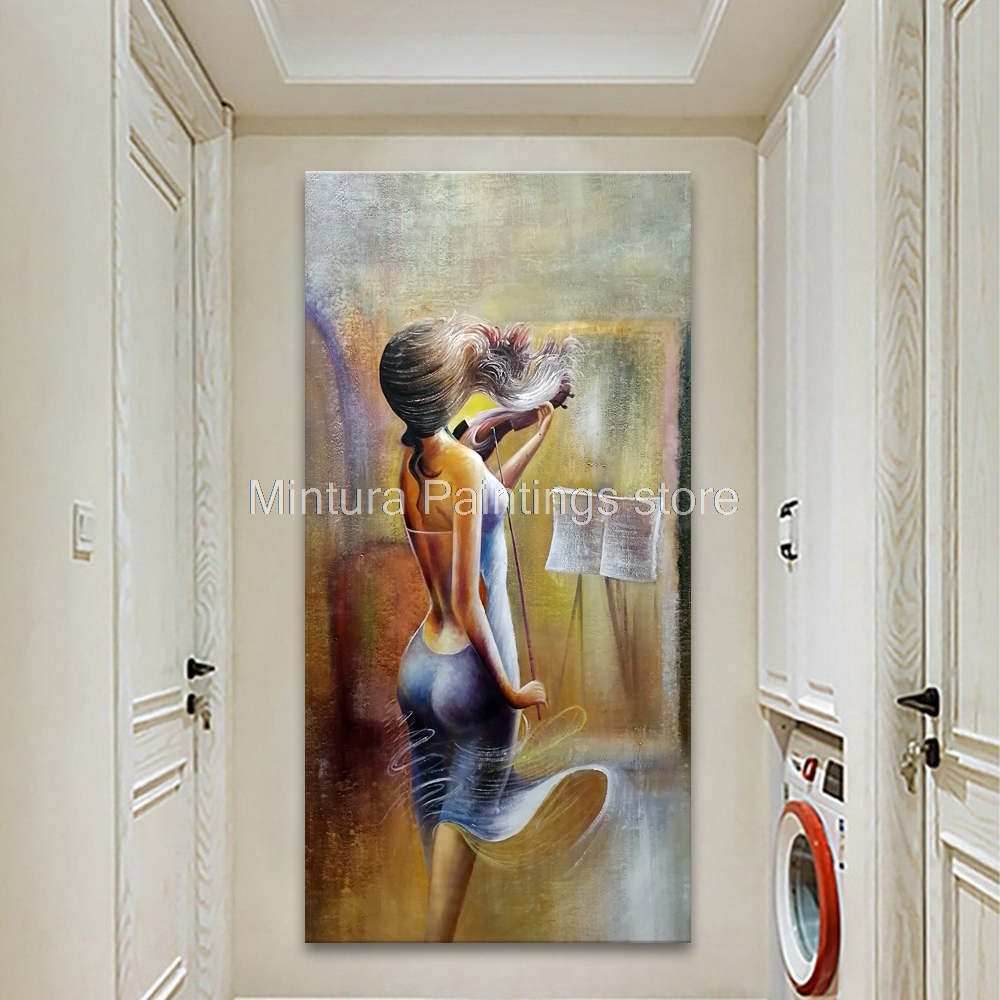 Mintura Hand Painted Evening Dress Pretty Girls Violin Oil Paintings Canvas Morden Abstract Corridor Decor Vertical