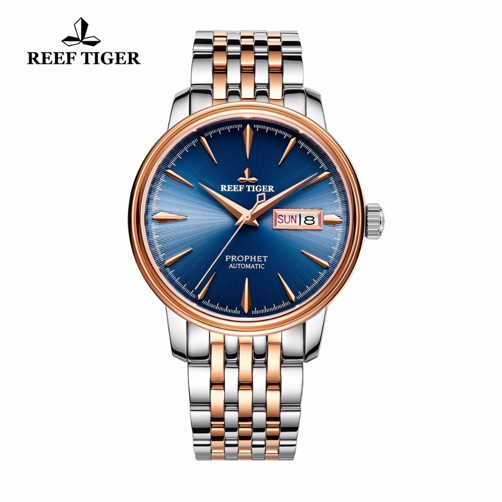 все цены на 2017 Reef Tiger/RT Luxury Fashion Watches for Men Two Tone Rose Gold Automatic Watch with Date Day RGA8236 онлайн