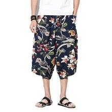 Шаровары-карандаш мужские летние с цветочным принтом Мужские штаны для бега пляжные брюки мужские s брюки в стиле хип-хоп укороченные широкие брюки 5XL