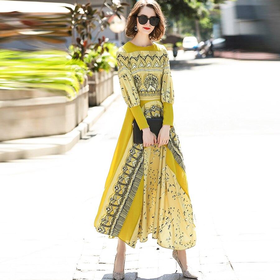 Mode Cheville Offre De longueur Jaune Femmes Longue Impression Ethniques Automne ligne Mince Vintage Spéciale A Robes Noble Robe Dames 2019 H2DEIYW9