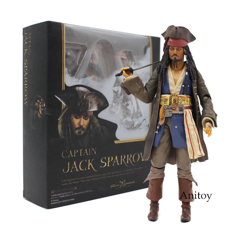 SHFiguarts Pirates of the Caribbean Captain Jack Sparrow PVC Action Figure Collectible Model Toy 15cm loz pirates of the caribbean jack salazar mini blocks brick heads figure toy assemblage toys offical authorized distributer