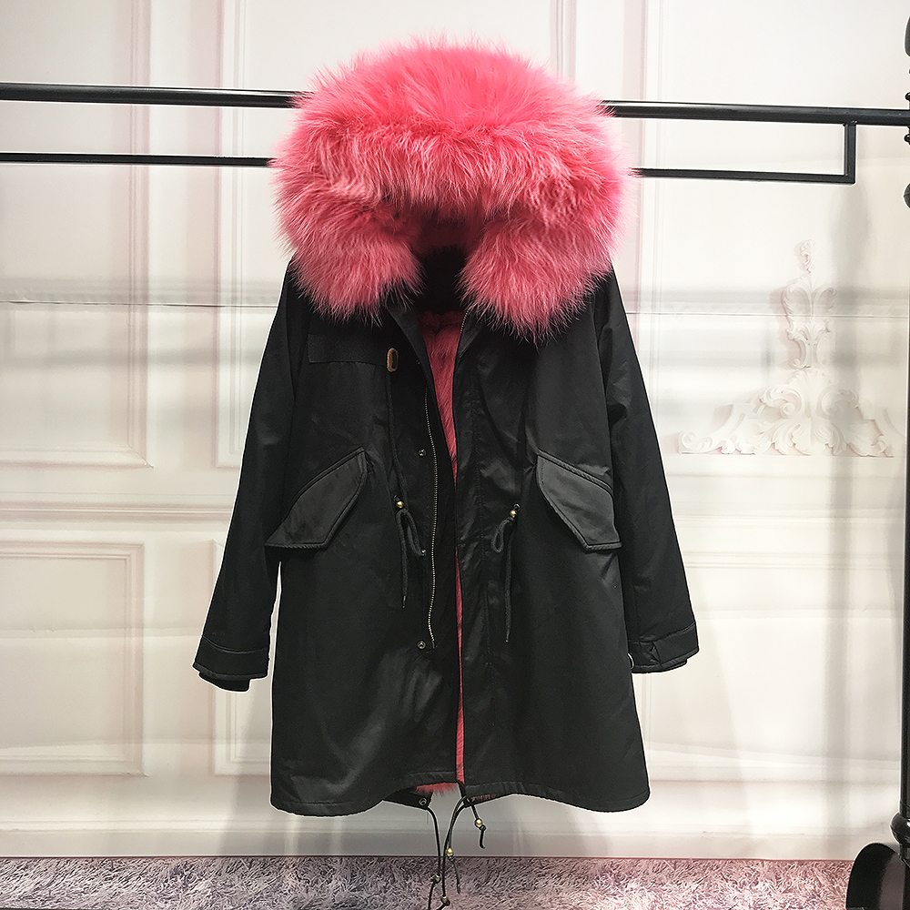 Real Fox Fur Liner winter jacket women new long parka real fur coat big raccoon fur collar hooded parkas thick outerwear printed long raccoon fur collar coat women winter real rabbit fur liner hooded jacket women bomber parka female ladies fp896