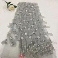 Роскошные в африканском стиле свадебное платье Silver Grey 3d платье кружева перо вышивка французский Тюль Кружева блесток кружевной ткани для Д