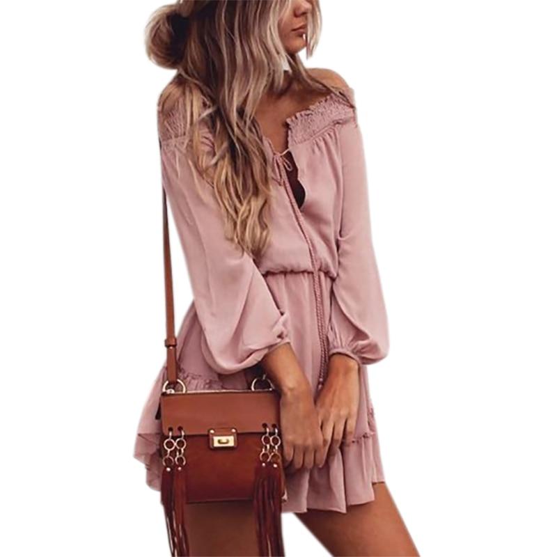 Boho Chiffon Kleider Slash Neck Strand Sommer Strand Mini Kleid Laterne Langarm Rüschen Frauen Sexy Party Vintage Kleid GV687