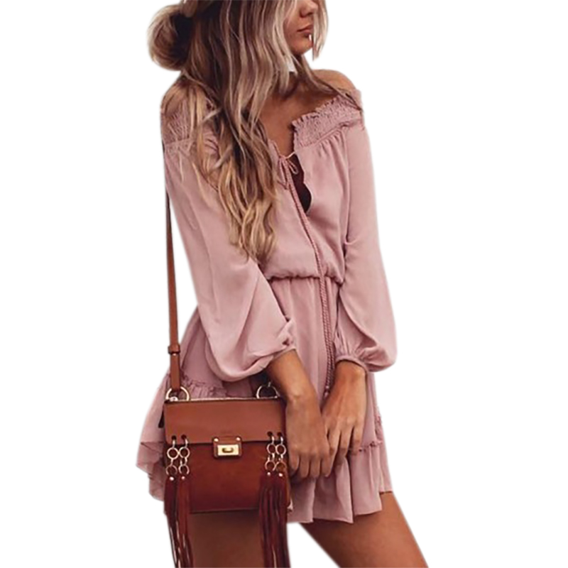 Boho gasa vestidos Slash cuello playa verano playa Mini vestido linterna manga larga Ruffle mujeres vestido atractivo de la vendimia del partido GV687
