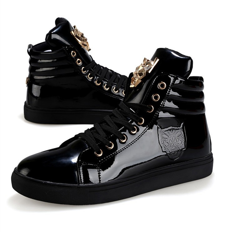 Fashion Leopard Sequined Skate Shoes For Men Ankle Boots 2015 New PU Patent Leather Shoe High Top Casual Flats Medusa Shoes F184 (18)