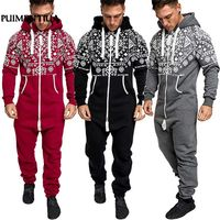 Puimentiua 2018 Casual Tracksuit Jumpsuit Mens Overalls Long Sleeve Sweatshirt Hoodies Long Pants Romper For Male Overalls