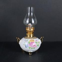 2019 النمط الصيني الأكثر مبيعا أضواء الزخرفية عالية خمر زجاج الكيروسين مصباح الفخار الصيني التخييم الشمعدانات المنزل