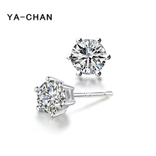 Фотография YA-CHAN Genuine 925 Sterling Silver Earrings Jewelry For Women 6MM Zricon Stud Earrings Wholesale Sterling-silver-jewelry Brinco