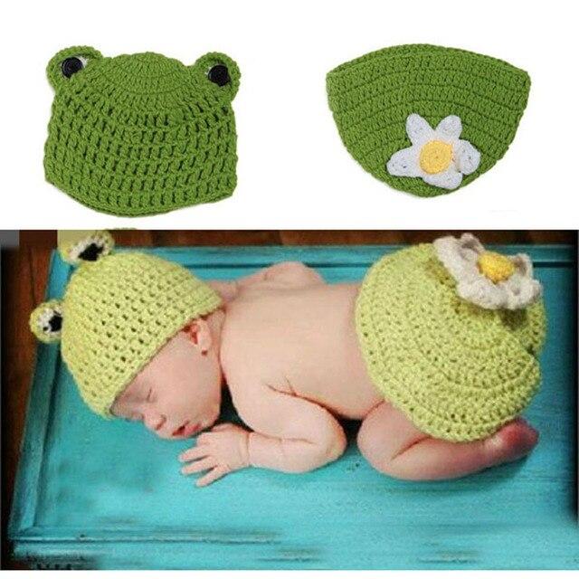 Hand Häkeln Frosch Set Baby fotographien stützen Newborn Frosch Hut ...