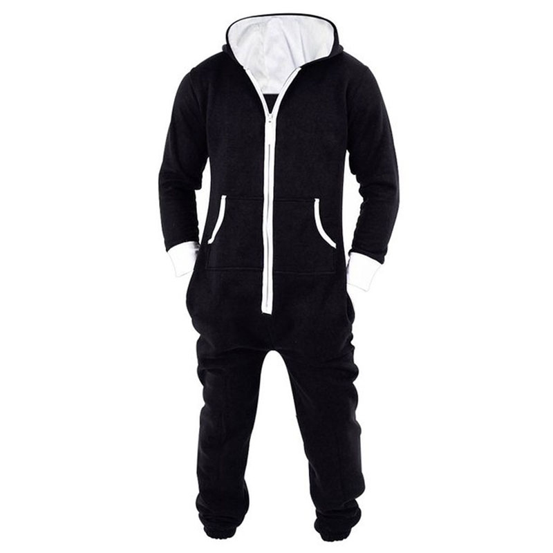 Adult Unisex Onesie Jumpsuit One Piece Non Footed Pajama Playsuit Men Footless Hooded Night Gown Bobe Costume Black & Blue