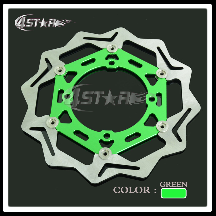 270MM Green Front Floating Brake Disc Rotor Adaptor For KX KXF KLX KX125 KX250 KX250F KX450F KLX450 Motorcycle Supermoto Motard