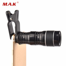 High Quality Black 8X Optical Zoom Monocular Telescope Camera Lens with Clip for Mobile Phone Smartphones(China)