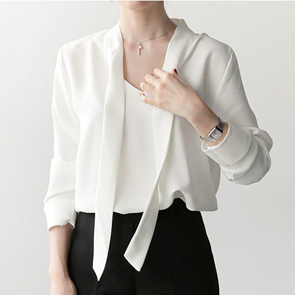 Рубашка Для женщин белого и синего цвета 2019 рубашки блузка дамы топы со шнуровкой модные дна рубашка, шифоновая рубашка koszule damskie-30