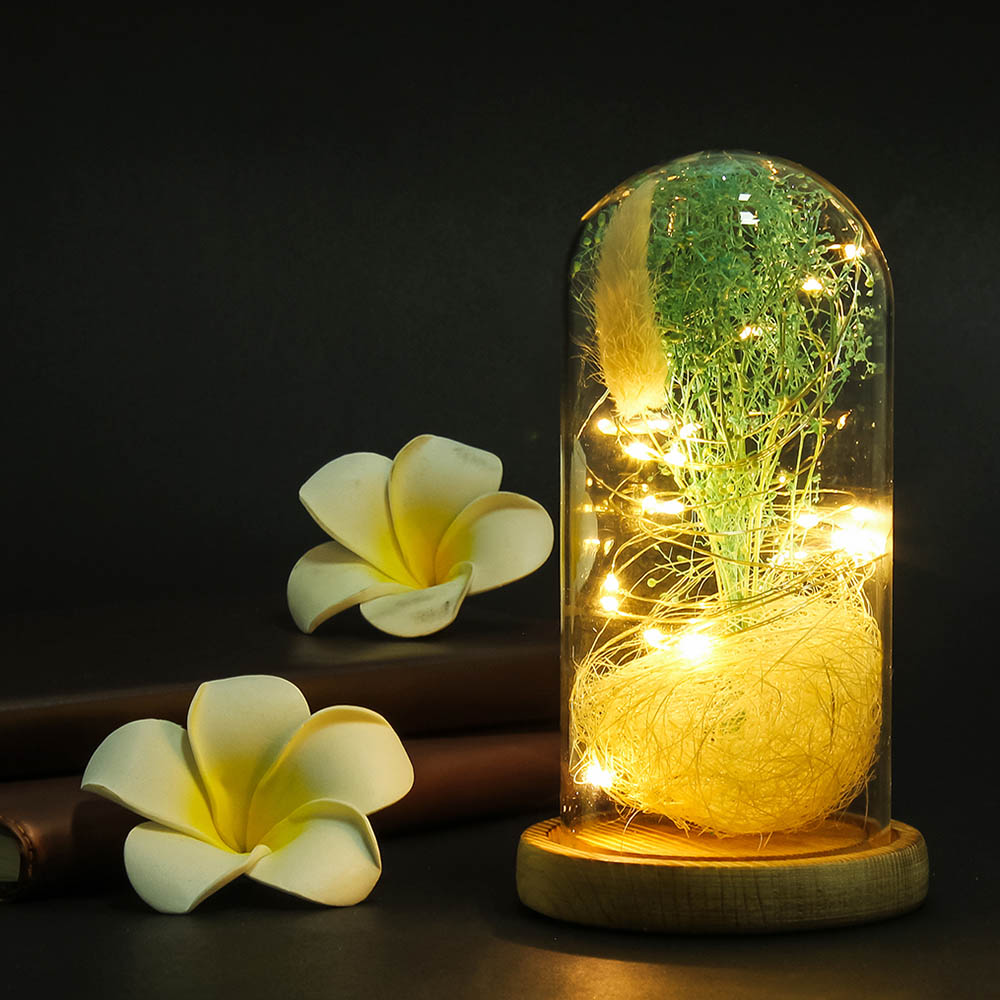 Artificial Gypsophila Flowers In Led Light Glass Bottle Dome Decor Simulated Flower Micro Landscape Night Light Ornament