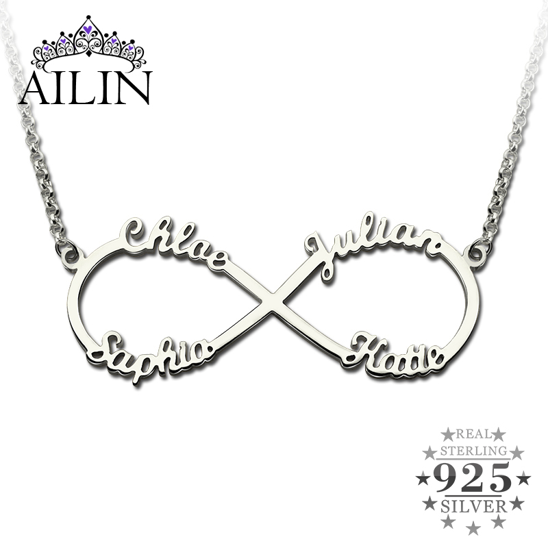 купить AILIN Personalized Infinity Necklace with Names Silver Infinity Pendant 4 names Brand Necklace Endless Love Valentine's Day Gift недорого