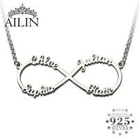 Cá nhân Infinity Necklace với Tên Bạc Infinity Mặt Dây Chuyền 4 tên Thương Hiệu Vòng Cổ Vô Tận Yêu Ngày Valentine Món Quà