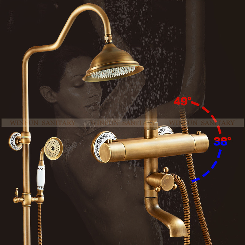 Vidric Shower Faucets Wall Mounted Thermostatic Shower Mixer Tap Antique Brass Dual Handle With Slide Bar Shower For BathroomVidric Shower Faucets Wall Mounted Thermostatic Shower Mixer Tap Antique Brass Dual Handle With Slide Bar Shower For Bathroom