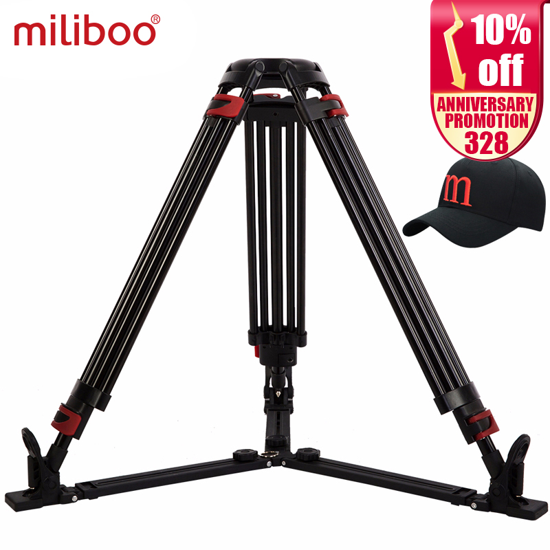miliboo MTT609A tanpa kepala Portable Aluminium Tripod untuk Camera Video Camcorder Profesional / DSLR Stand Ground Extension