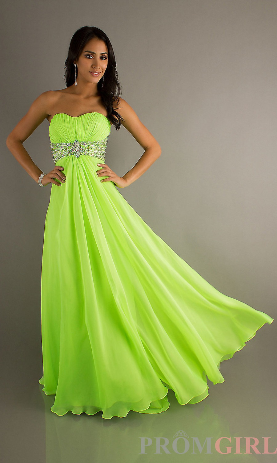 Fashion Lime Green Sweetheart Prom Dress Ruffles Crtstal Sequin Bling Cute Chiffon Evening