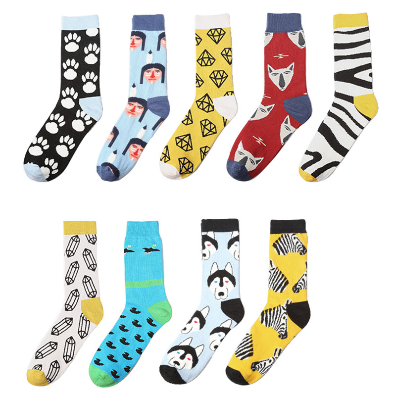 Men's Fashion Brand Socks Husky/Zebra Awesome Skateboard Crew Socks Fixed Gear Calcetines Fashion Hip Hop Socks Colorful Meias