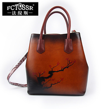 Large Tote Bags For Women Shoulder Handbags 2019 Vintage Handmade Cow Leather Se