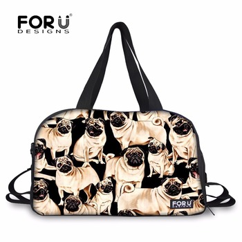 FORUDESIGNS Pug Dog/Labrador Animal Retriever Portable Large Capacity Fitness Gym Bag Men Women Foldable Cloth Travel Handbags S