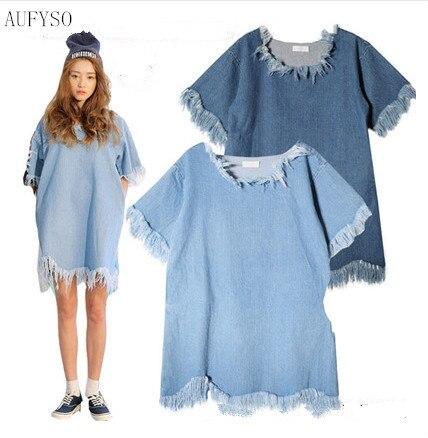 2eb56ca6d1c AUFYSO Summer 2018 Denim Dress Korean Vintage Frayed Tassel Half Sleeve Retro  Casual Blue Jeans Dress