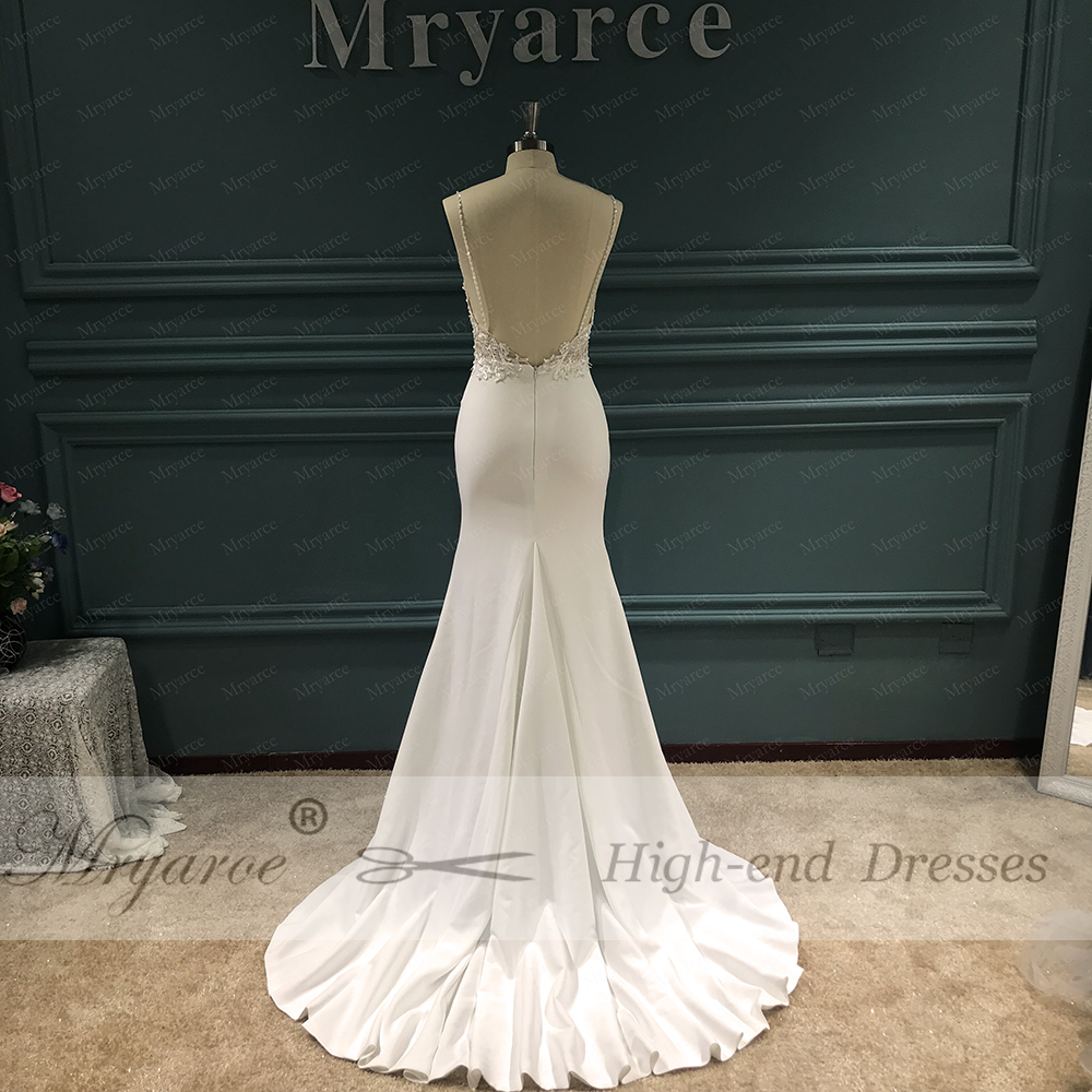 Image 4 - Mryarce Unique Bridal Crepe Mermaid Gowns Spaghetti Straps Lace Beading Open Back Wedding DressesWedding Dresses   -