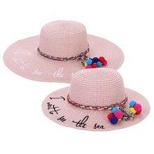 Carta casquillo bordado Big Brim Ladies   Girls sombrero de paja de verano  juventud sombreros para las mujeres y los niños sombr. 61302cea1ce